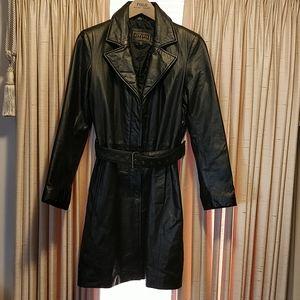 Express Black Leather Coat